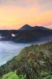 Bromo Mountain in Tengger Semeru National Park at sunrise Royalty Free Stock Photos
