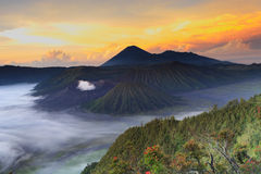 Bromo Mountain in Tengger Semeru National Park at sunrise Royalty Free Stock Photography
