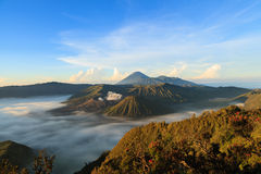 Bromo Mountain in Tengger Semeru National Park at sunrise Royalty Free Stock Photos