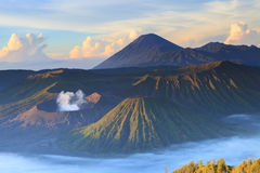 Bromo Mountain in Tengger Semeru National Park at sunrise Stock Image