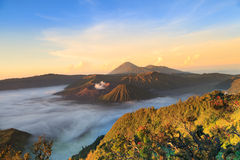 Bromo Mountain in Tengger Semeru National Park at sunrise Royalty Free Stock Images