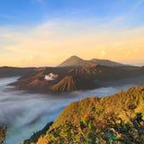 Bromo Mountain in Tengger Semeru National Park at sunrise Royalty Free Stock Images