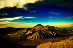 Bromo Mountain under cloudy blue sky Royalty Free Stock Images