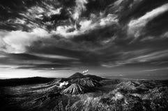 Bromo Mountain under cloudy sky stock photo