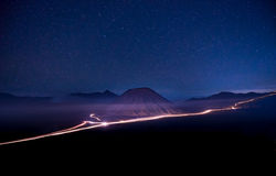 Bromo in the night. With many stars Stock Images