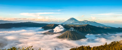 Bromo. Sunrise in mount Bromo, Indonesia stock photo