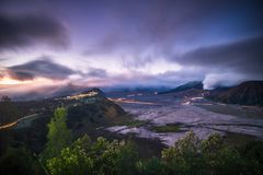 Bromo sunrise from seruni point stock photos