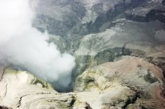 Bromo volcano crater  and sulfur. Center of Bromo volcano crater and plume of sulfur Stock Photography
