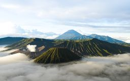 Bromo volcano in Indonesia on the island of Java at dawn royalty free stock photo