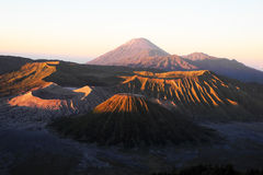 Bromo volcano and its craters. At sunrise, Indonesia Royalty Free Stock Photos