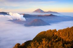Bromo volcano at sunrise, East Java, Indonesia royalty free stock images