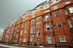 Luxury apartment buildings in Brompton Road Knightsbridge one of the wealthiest and most famous district in London Uk