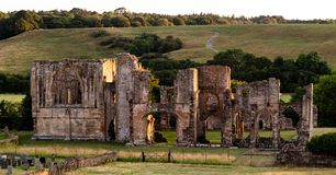 Brompton on Swale, United Kingdom - 07/24/2018: The ruins of Easby Abbey from the front stock image