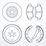 Bromsdiskett, bromstrumma och bromsblock Bromsen särar symboler royaltyfri illustrationer