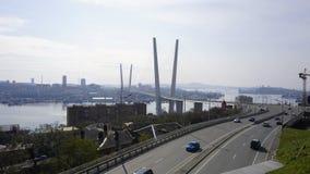 Bron över det guld- hornet vladivostok Royaltyfri Foto
