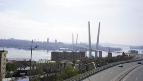 Bron över det guld- hornet vladivostok Arkivbild