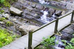 Bron över nedgångarna Arkivbild