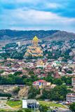 Bron av fred över Kuraet River i Tbilisi Royaltyfri Foto