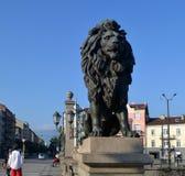 Bron för lejon` s i Sofia Bulgaria arkivfoton
