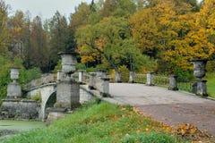 Bron i Pavlovsk parkerar Royaltyfri Fotografi