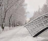 Bron i vinter parkerar Arkivbild