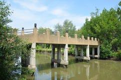 Bron korsar bankar över den Khun Thian kanalen Royaltyfri Foto