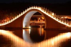 Bron och reflexionen för traditionell kines över Dahu parkerar sjön på natten i Taipei, Taiwan Royaltyfri Bild