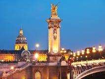 Bron Pont-Alexandre i Paris Arkivbild