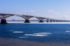 Bron Saratov Engels Volgaet River Royaltyfri Bild