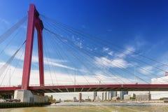 Bron Willemsbrug i Rotterdam som ses från vattnet Royaltyfri Foto