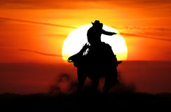 Bronc rider. Cowboy bronc rider at sunset silhouette Stock Photography