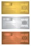 Bronce de la plata del oro del trío de la cupón Imágenes de archivo libres de regalías