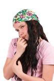 Bronchez la fille de dix ans s'usant un bandana photo stock