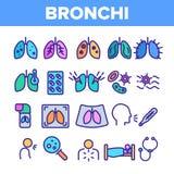 Bronchite, insieme lineare delle icone di asma di vettore allergico di sintomi royalty illustrazione gratis
