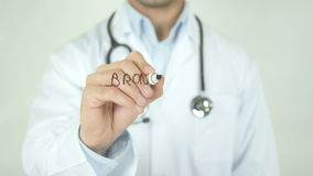 Bronchitis, Doctor Writing on Transparent Screen. Man writing stock video footage