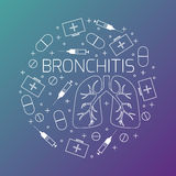 Bronchitis linear icon set Stock Images