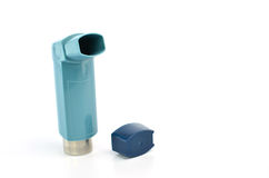 Bronchodilator inhaler using in Asthma patient on white background.  Stock Images