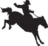 Bronco Rider. Line Art Illustration of a Bronco Rider Royalty Free Stock Images