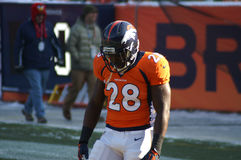 Bronco running back. Montee Ball in deep concentration before broncos football game royalty free stock image