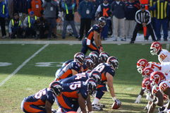 Bronco's offense. Afc west champion denver bronco's offense lines up against kansas city chiefs. bronco, s playing in the playoffs with Tim Tebow stock image