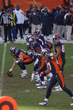 Bronco's offense. Afc west champion denver bronco's offense lines up against kansas city chiefs. bronco, s playing in the playoffs with Tim Tebow stock photography