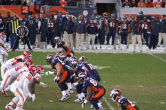 Bronco's offense. Afc west champion denver bronco's offense lines up against kansas city chiefs. bronco, s playing in the playoffs with Tim Tebow stock photos