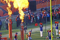 Broncos Entry. Denevr Broncos enter the stadium on a cold winter day royalty free stock photo