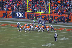 Broncos for the score. Peyton manning starts the scoring play against the titans stock images