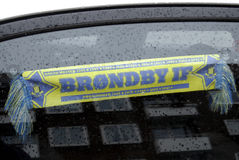 BRONDBY FOOTBALL TEAM BANNER. Kastrup.Copenhagen.Denamrk _Bronby fans hanging brondby football team club banner in car window                 21 Febuary 2015 ( Stock Image