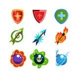 Broni i osłony ikony Ustawiać dla gier Obrazy Stock