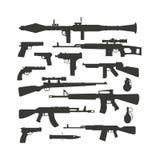 Broni kolekci automatycznego pistoletu strzału maszyn sylwetki polici pociska różny militarny wektor Zdjęcie Stock