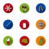 Broni ustalone ikony w mieszkanie stylu Duża kolekcja broń wektoru symbol Zdjęcia Royalty Free