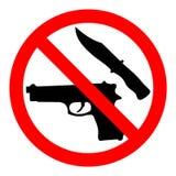 Broni zabroniona ikona Zabraniając wektoru znaka ` Żadny broni ` z pistoletem i nożem ilustracja wektor