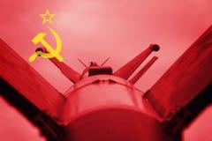 Bronie masowego zniszczenia Sowieci - zrzeszeniowy ICBM pocisk Wojna plecy zdjęcie stock